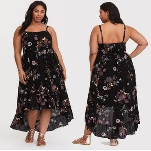 NWT Torrid 3 Black Floral Hi Lo Gauze Tank Dress